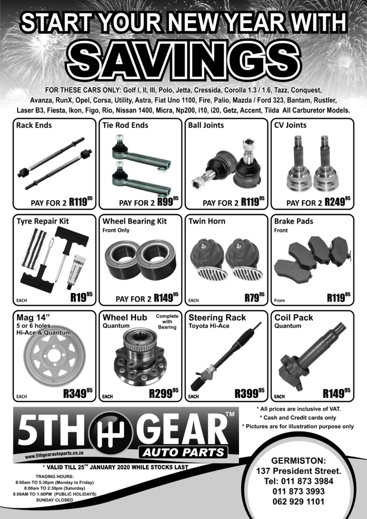 January 2020 Auto Parts Promotion South Africa